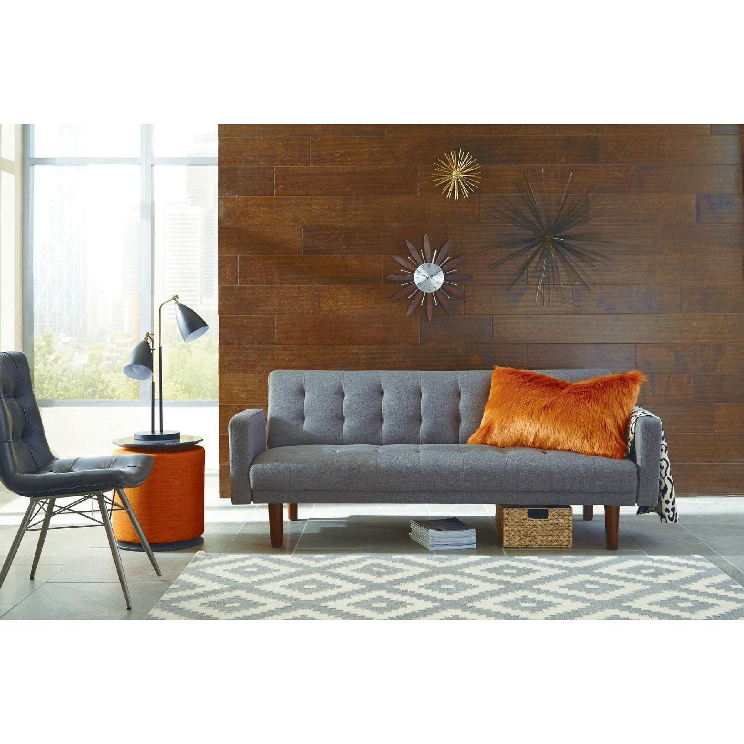 Tufted Grey Sleeper Sofa-2