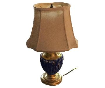 Antique Royal Blue & Gold Plaster Table Lamps