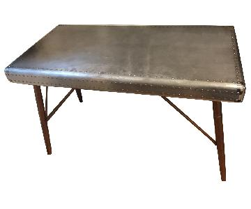 Silver Nailhead Trim Writing Desk U0026 File Cabinet ...