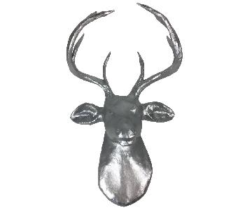 West Elm Paper Mache Silver Sparkly Wall Mounted Deer