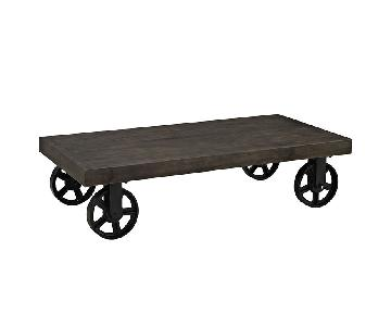 Pine Wood Coffee Table w/ Casters