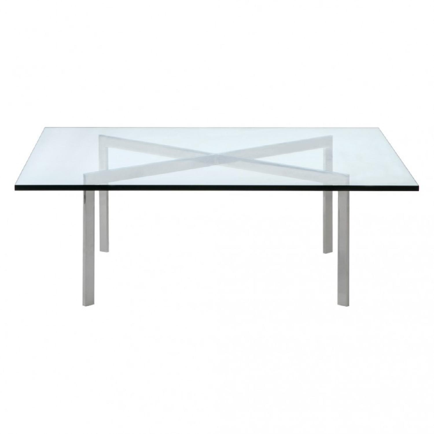 Knoll Barcelona Square Glass U0026 Chrome Coffee Table ...