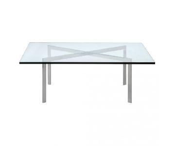 Knoll Barcelona Square Glass & Chrome Coffee Table