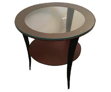 Glass Top Round Steel Side Tables