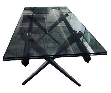 Maurice Villency Glass Rectangular Dining Table