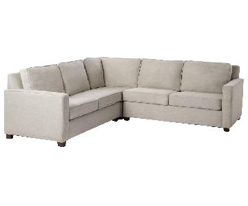 West Elm Henry Custom Corner Sectional in Luxe Grey Velvet