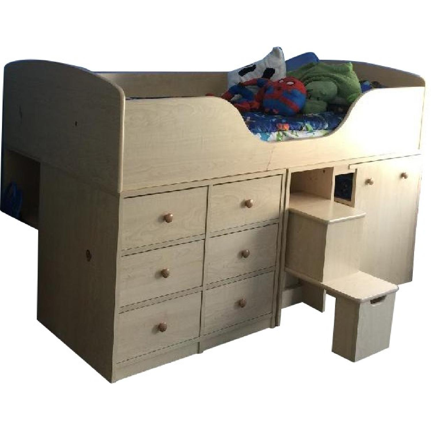 Twin Size Low Loft Bed W/ Drawers U0026 Desk ...