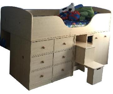 Twin Size Low Loft Bed w/ Drawers & Desk