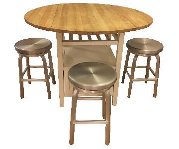 Crate & Barrel Drop-Leaf Wooden Table w/ 3 Aluminum Stools