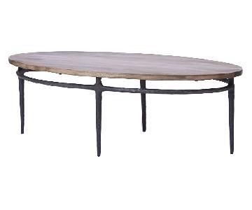West Elm Wood & Cast Base Coffee Table
