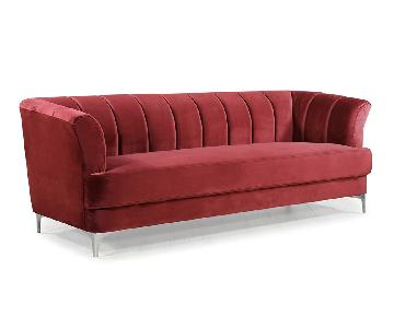 Divano Roma Red Velvet Sofa