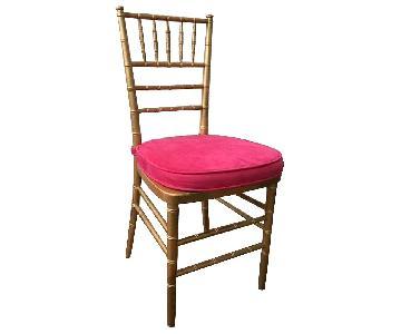 Wood & Gold Chiavari Chair w/ Fuschia Cushion