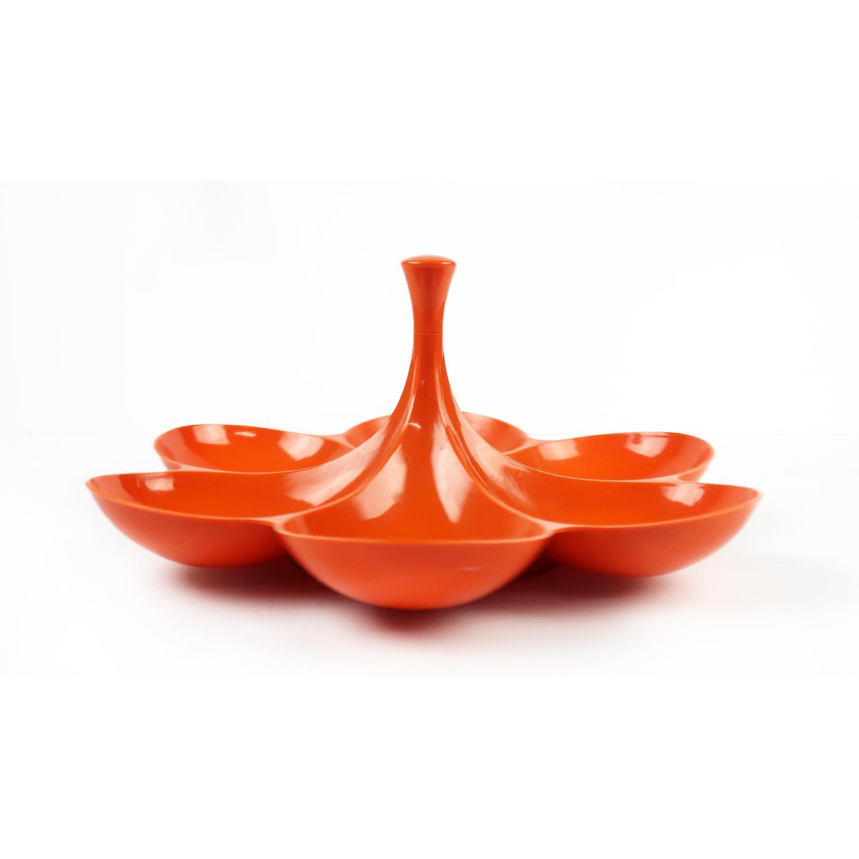 Vintage Orange Rotating Flower Snack Server