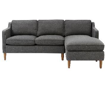 West Elm Hamilton Dark Grey 2-Piece Chaise Sectional Sofa