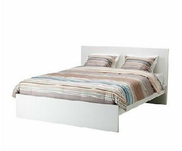 Ikea Malm White Queen Bed w/ Lonset Bed Base