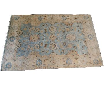 One Kings Lane Oushak Area Rug in Soft Blue & Beige
