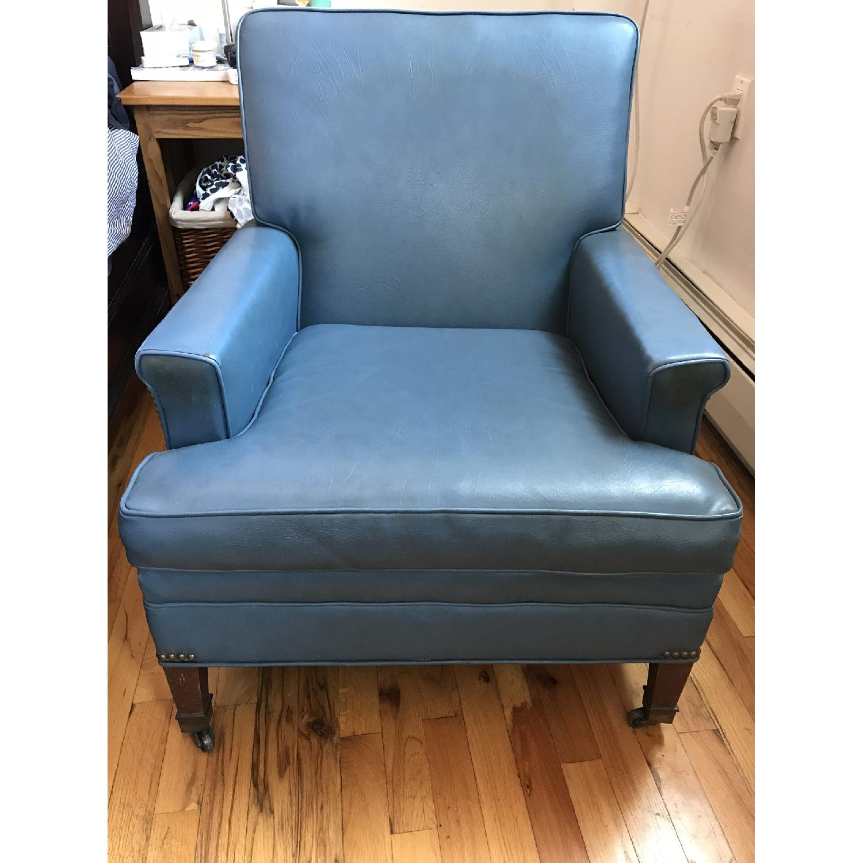 Vintage Blue Faux Leather Armchair ...