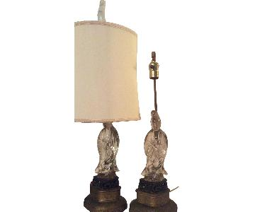 Vintage Chinese Figurine Table Lamps