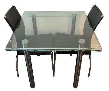 Raymour & Flanigan Glass Dining Table w/ 2 Chairs