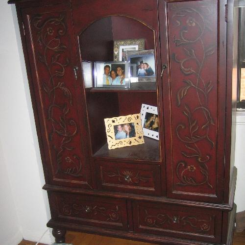 Used Neiman Marcus Hand-Painted Maroon Armoire for sale on AptDeco