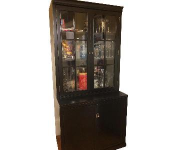 Crate & Barrel Black Hutch/China Cabinet