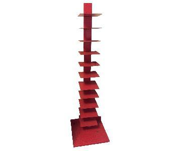 Red Vertical Metal Bookshelf