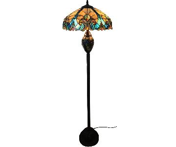 Tiffany Style 2-Light Bronze Victorian Floor Lamp