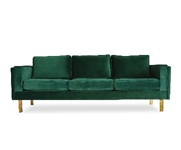 Emerald Velvet Sofa W/ Brass Legs ...