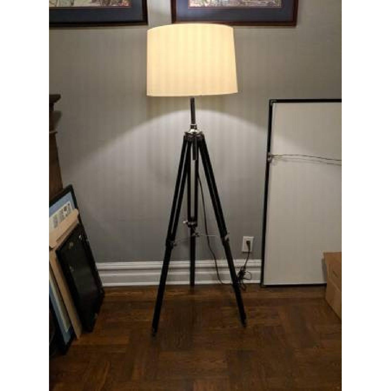 Lite Source Black Tripod Floor Lamps w/ White Shade-2