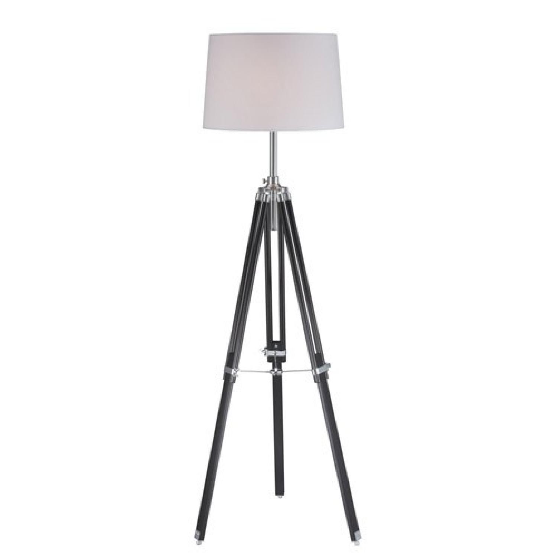 Lite Source Black Tripod Floor Lamps w/ White Shade