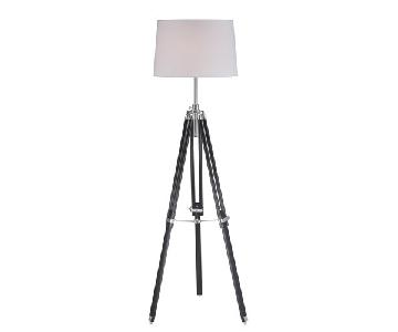 Lite Source Black Tripod Floor Lamps w/ White Shade