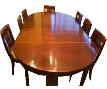 Antique Expandable Dining Table w/ 14 Chairs