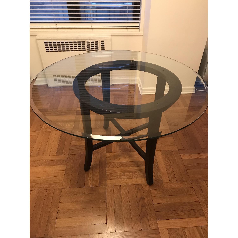 ... Crate U0026 Barrel Halo Ebony Round Dining Table W/ Glass Top 1 ...