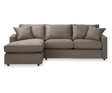 Room & Board York Otter Sleeper Sectional Sofa w/ Chaise
