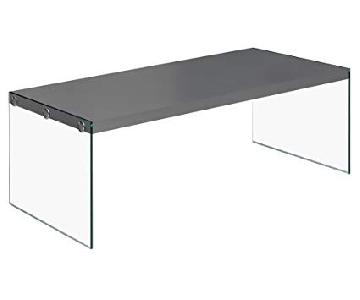 Monarch Furniture Glossy Gray Hollow Core Cocktail Table