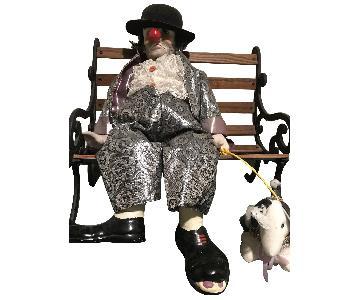 Clown & Dog on a Park Bench