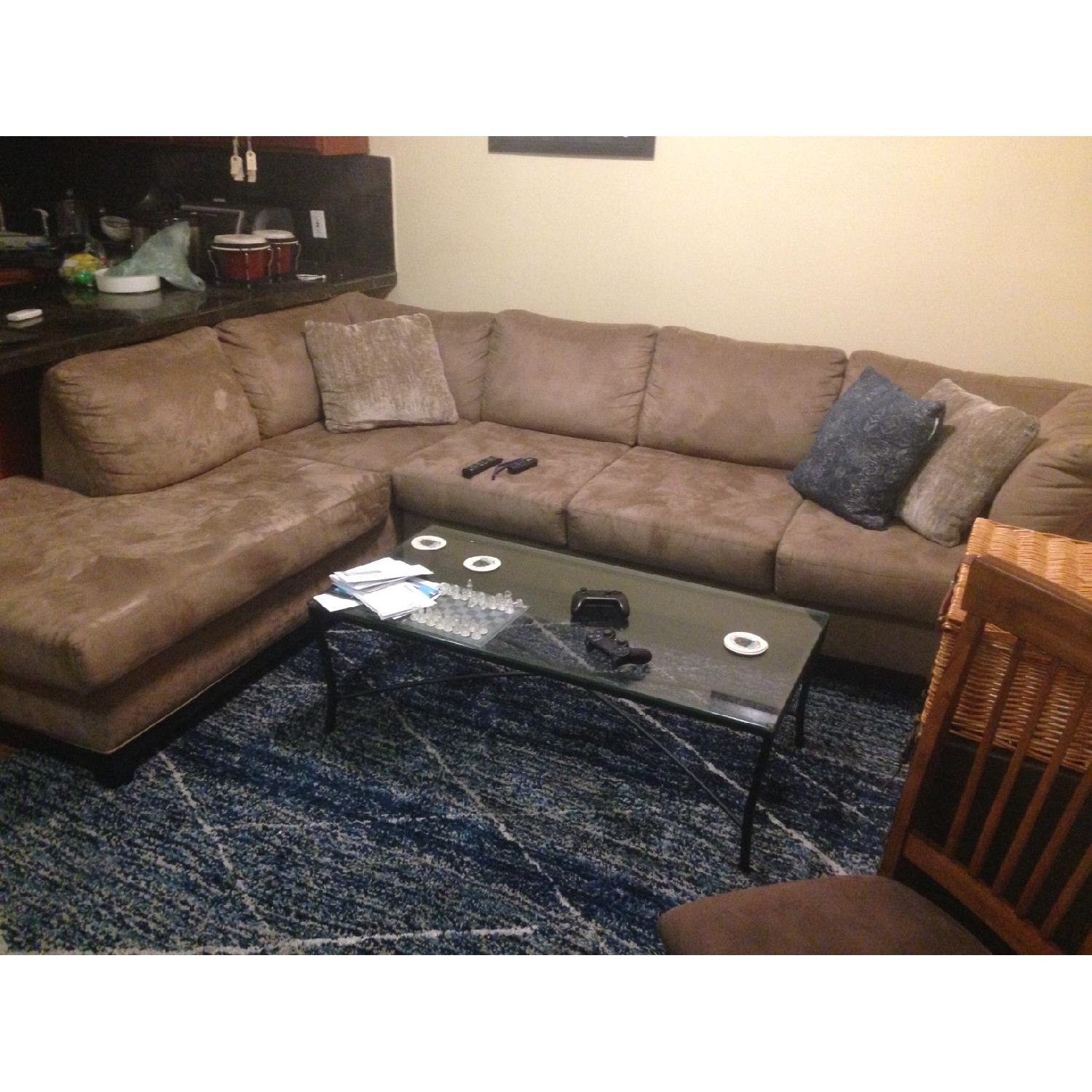 Aspen Home Tan Suede 2 Piece Sectional Sofa ...
