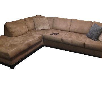 Aspen Home Tan Suede 2-Piece Sectional Sofa