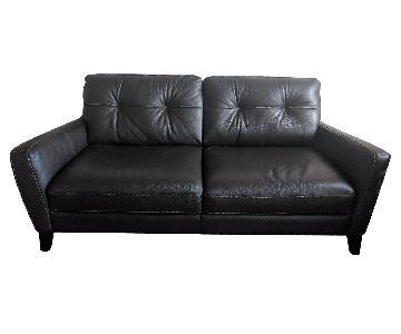 Macy's Chocolate Brown Leather Sofa w/ Beige Stitching
