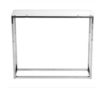 Sandor White Glass Top Metal Base Console Table