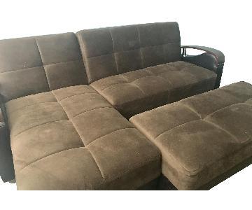 Dark Brown Suede 2-Piece Sectional Sofa & Ottoman
