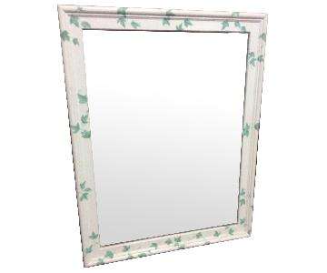 Vintage Beveled Hand Painted Wood Frame Mirror