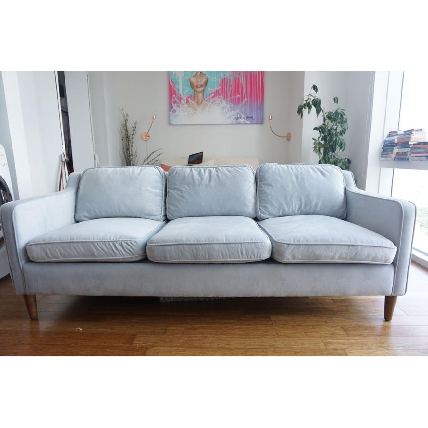 ... West Elm Hamilton Dove Grey 3 Seater Sofa 2