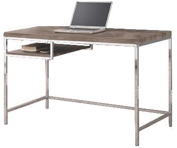 Gray Wood & Chrome Writing Desk
