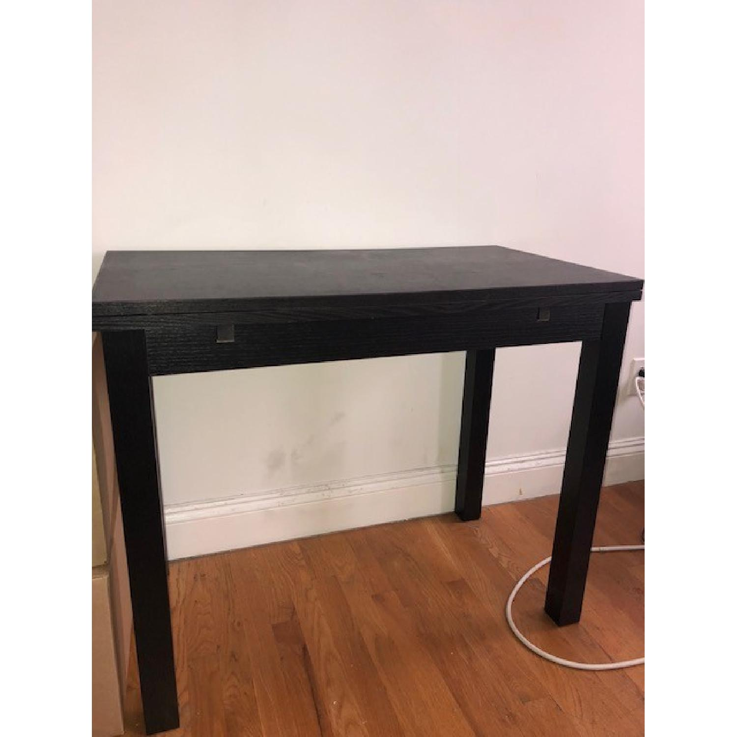 Ikea Black Wood Dining Table W/ 2 Chairs ...