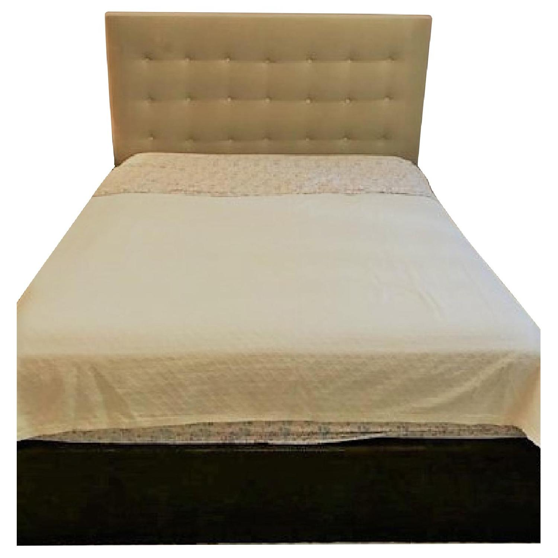 Custom Made Wood Bed Frame w/ Mohair Headboard - AptDeco