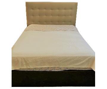 Custom Made Wood Bed Frame w/ Mohair Headboard