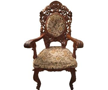 Custom Carved Wood Accent Chairs