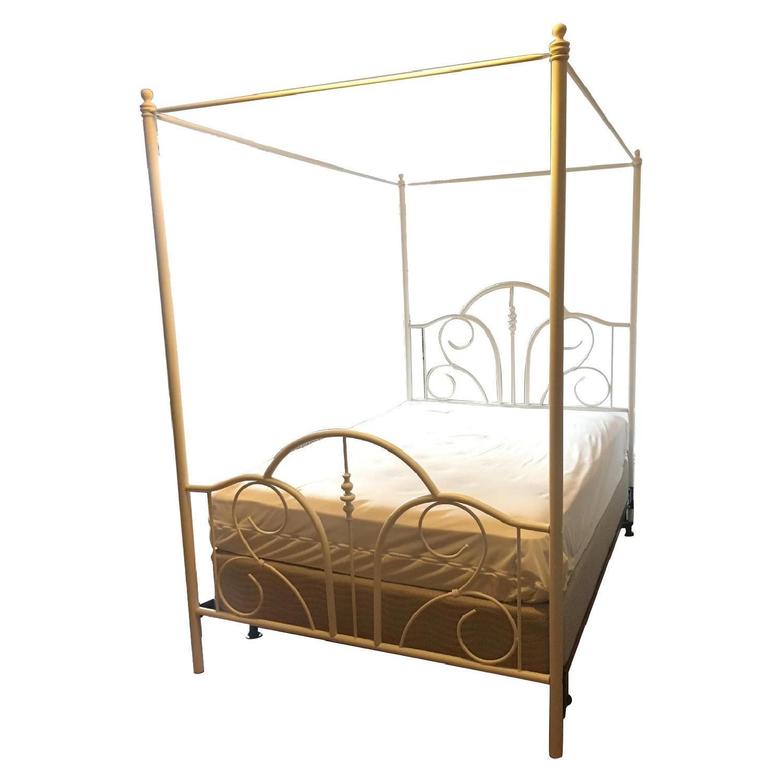 Horchow White Full Size Iron Canopy Bed - AptDeco