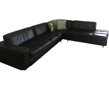 By Design Italian Black Leather 2-Piece Sectional Sofa